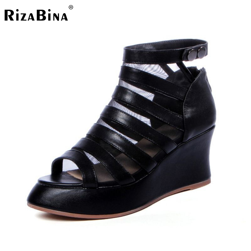 women real genuine leather platform peep open toe wedge high heel shoes brand sexy fashion ladies heeled shoes size 34-39 R6404 women peep toe ankle strap platform high heel sandals summer sexy fashion ladies heeled footwear heels shoes size 34 39 p16703