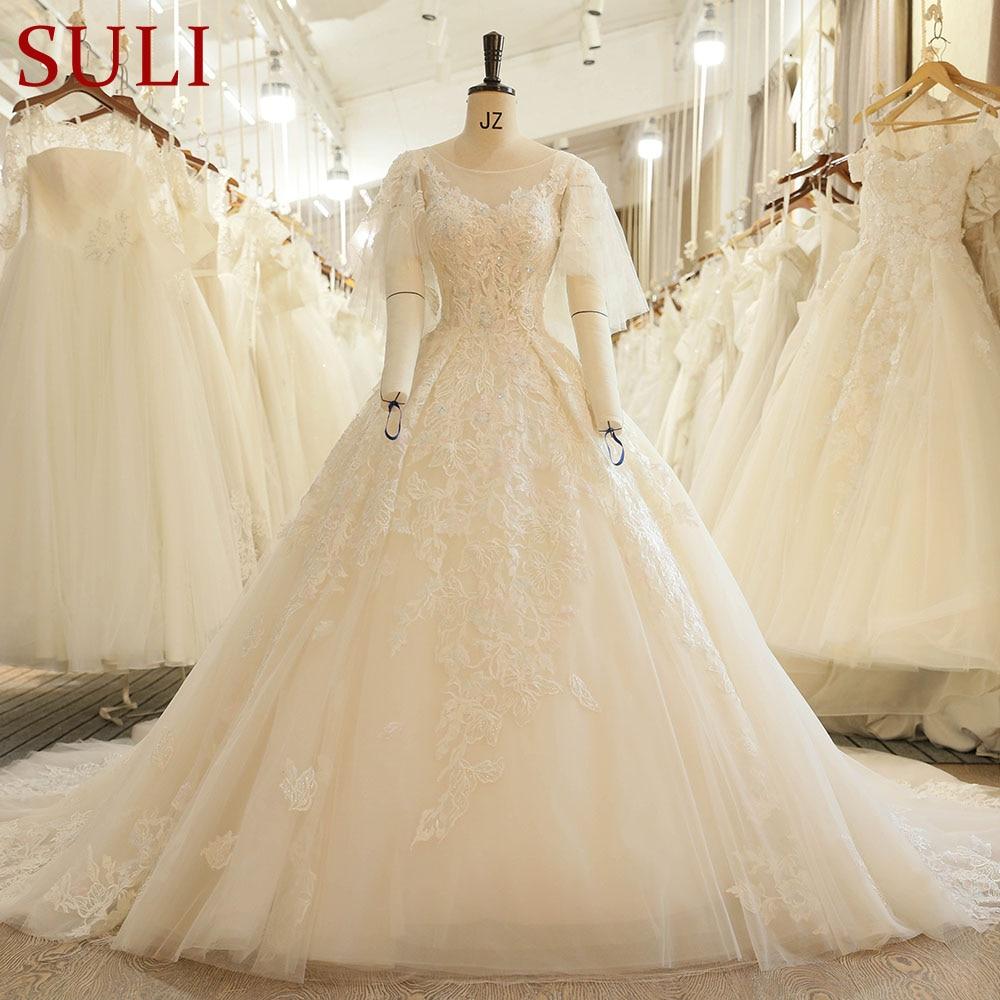 SL-7816 Kyrka O Hals Puffy Sleeve Illusion Bodice Lace Applique - Bröllopsklänningar