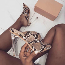 Liren 2019 Summer Fashion Sexy Snake Pattern Slingback Women Sandals Transparent High Square Heels Open Toe Shoes