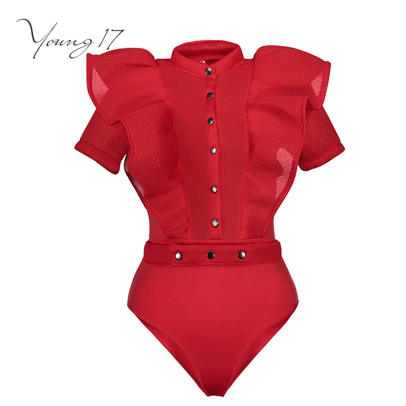 Young17 women jumpsuit women red sleeveless sexy fashion Falbala patchwork lace-up fashion club summer short women jumpsuits