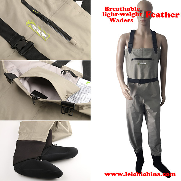 Light-Weight Feather Fishing Wader Additional Durability In M, L, XL Size Fly Fishing Breathable Wader