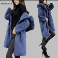 TNLNZHYN Women Winter Jacket New Large size Loose Mink Fur Coat Medium long Slim Jacket Fashion Fox Fur Collar Hooded Coat AB647