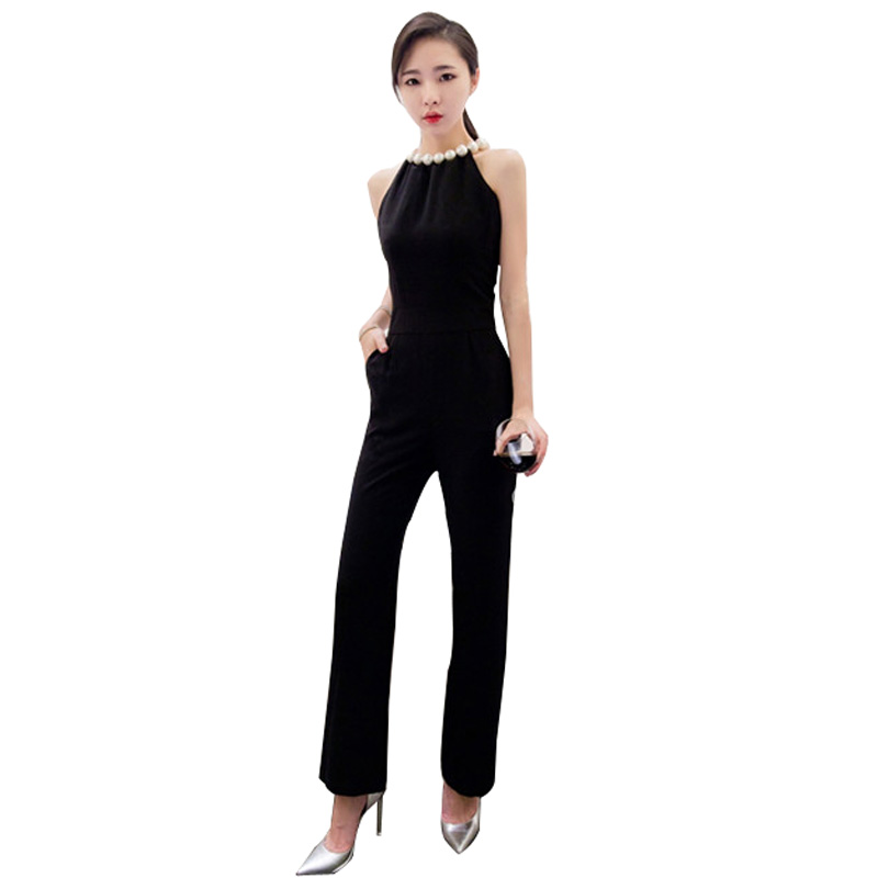 2018 Summer Sexy Pearl Halterneck Sleeveless Jumpsuit For Women Fashion Jump Suit Nine Points ...