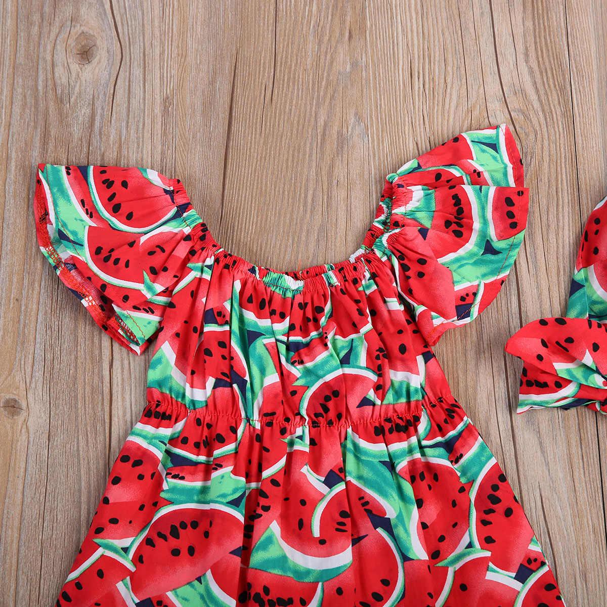 Mùa hè Dưa Hấu Cho Trẻ Sơ Sinh Bé Gái Hoa Lệch Vai Nữ Tay Ngắn Bodysuit Áo Liền Quần Bộ Trang Phục Playsuit Quần Áo Bé Gái