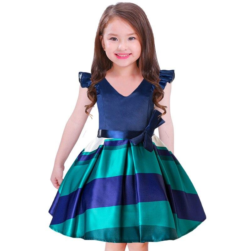 Hige Grade Children Girls Dress Summer Clothes Girl Ball Gown V-Neck Dress Striped Evening Party Dress For Kids Girls