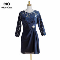 2018 Mother of the Bride Dresses A Line 3 4 Sleeves Dark Blue Chiffon Short Mother of the Bride Dress with Lace Beading