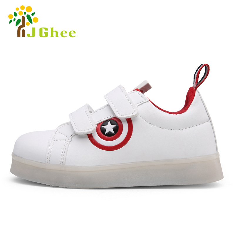 J Ghee New USB Charging Kids Shoes Glowing Sneakers LED Sneakers Light Up Boys Girls Shoes Captain America Led Luminous Sneakers