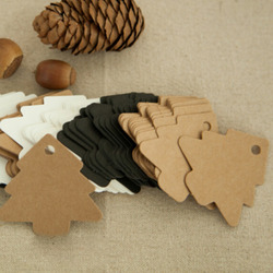 50Pcs 5.5*5.4CM DIY Kraft Christmas Tree Tags Hang Paper Gift Cards Party Favor Wedding Decoration Packaging Labels 6