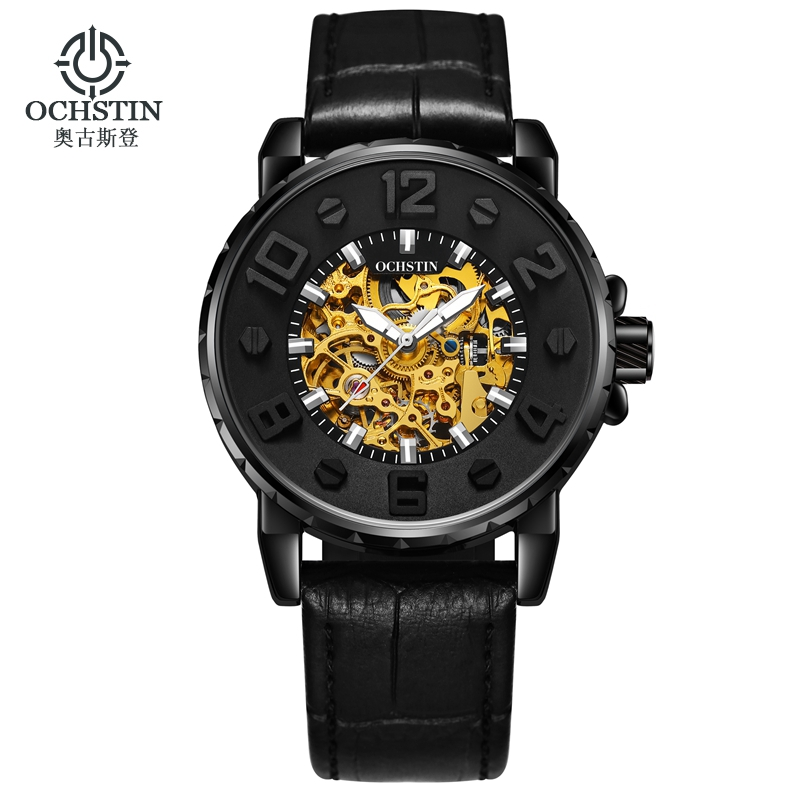 OCHSTIN Mechanical Automatic Skeleton Watches Men Steampunk Wristwatches Power Self Winding Leather Clock Man Wristwatches 62004 retro hollow skeleton automatic mechanical watches men s steampunk bronze leather brand unique self wind mechanical wristwatches