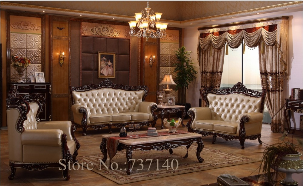 Sofa set living room furniture wood and genuine leather - Living room sets for cheap prices ...
