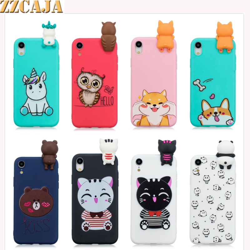 ZZCAJA Printed Fundas For iPhone XS Max Case Soft Silicon Shockproof Cute Cartoon OWL Unicorn Panda Cover For iPhone X XS XR Bag