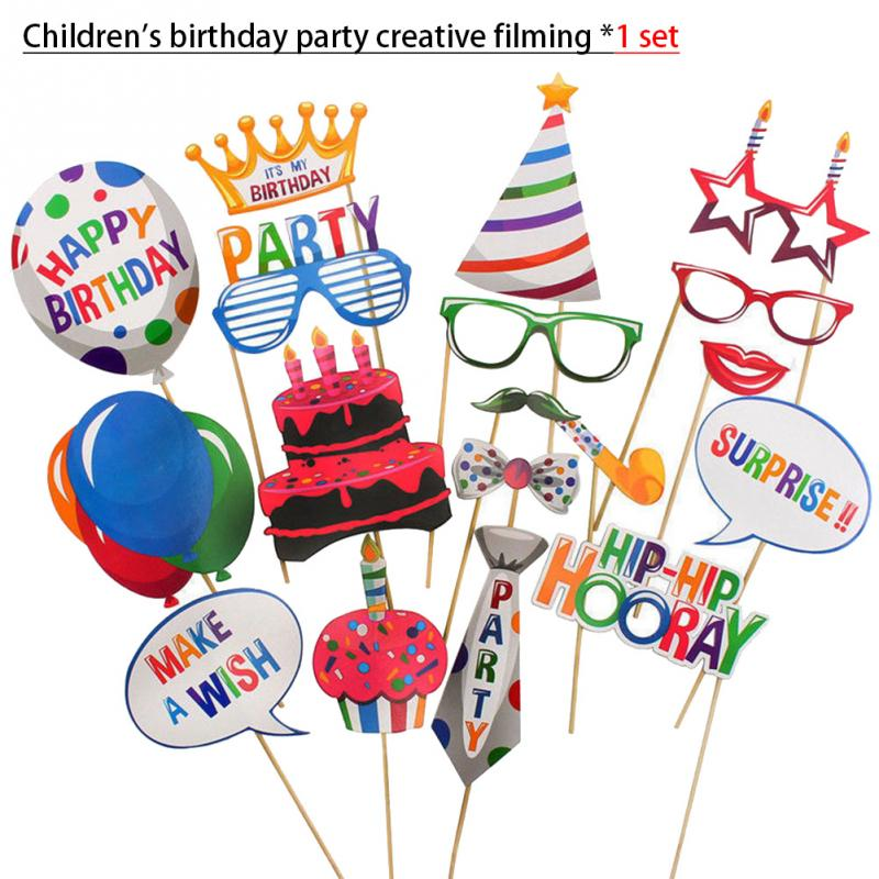 20Pcs/set Anniversary Decoration Paper Photo Props Photography Kit Baby Kid Birthday Party Balloons Style Shooting Photo Props