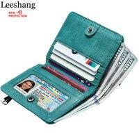 Leeshang Women Wallets Genuine Leather Small Wallet Women Rfid Blocking Green Short Card Wallet with Zipper Coin Pocket Purse