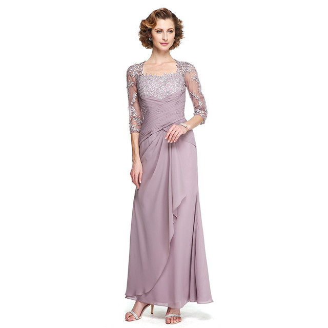 03e5915cf58 LAN TING BRIDE Sheath   Column Square Neck Ankle Length Chiffon Lace Mother  of the Bride Dress with Appliques Criss Cross