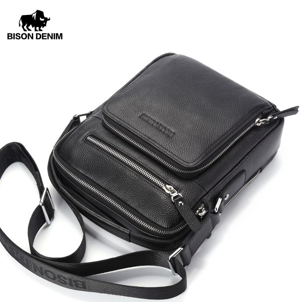 BISON DENIM Bolsos de cuero genuino para hombres Bolsos Ipad Hombre Messenger Bag Crossbody Bolsa de hombro Bolsos de viaje de los hombres N2333-1
