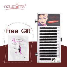 NEWCOME 12 Lines 0.05-0.25mm 3D Russian Volume Silk Premium Eyelash Extension Individual Korea Lash Makeup Professionals