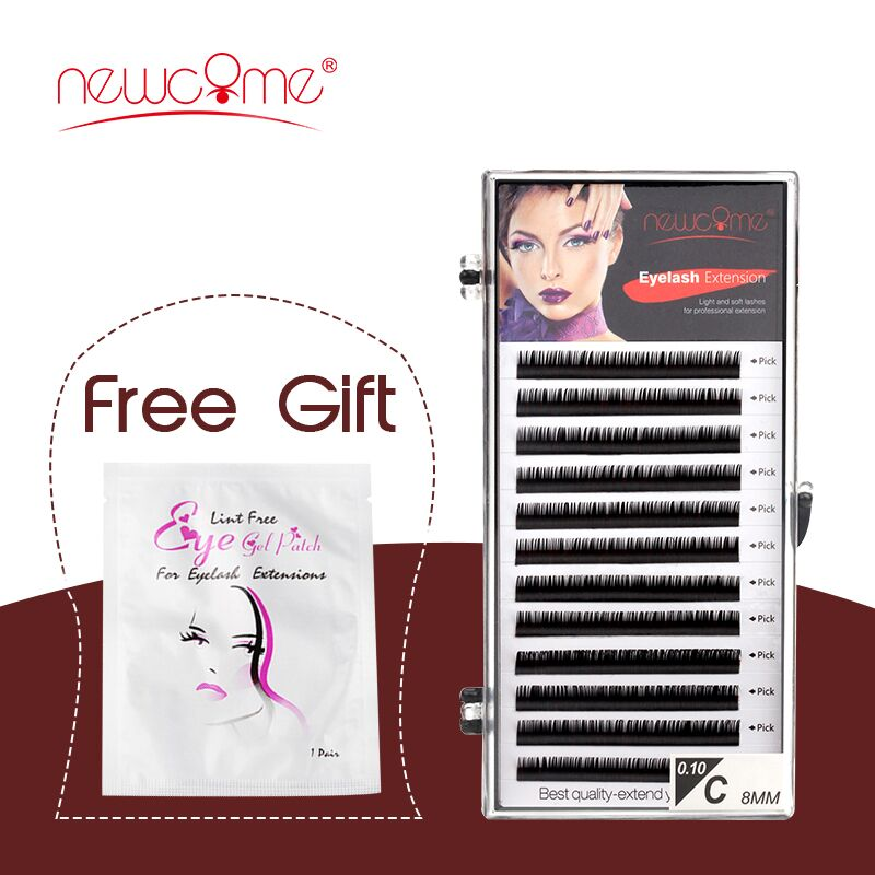 NEWCOME 12 Lines 0.05-0.25mm Russian Volume Silk Eyelash Extension Individual Korea Import Eyelashes Faux Mink Cilios Eye Lashes