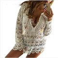 Sexy Flare Sleeve Floral Loose Vestido See Through Women's Lace Embroidery Dress Crochet Beach Wear Mini Dress Party Sundress