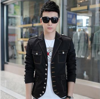 2020 New Fashion Casual Men's Suit Jacket Tide Slim Small Suit Denim Jacket Singer Show Sincostumes Clothing Hairstylist Jackets