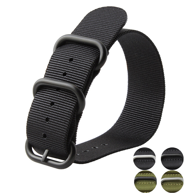 Watch Strap 18mm 20mm 22mm 24mm 26mm  Black Buckle for NATO zulu Green black Nylon Fabric Band Straps New Men Strong Watchbands 1pcs heavy duty nylon straps 20mm 22mm 24mm nylon watch band nato strap zulu strap watch strap silver ring buckle