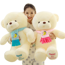 New Arrival Soft Lovers Scarf Bear Plush Toys Stuffed Giant Teddy Bear Girl Favorite Toys Valentine's Day Gift For Girl F049(China)
