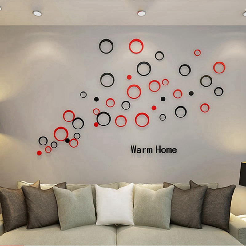 Us 1 67 32 Off Urijk 5pcs Circle 3d Wall Stickers Creative Stereo Removable Geometric Wallpaper Indoors Wall Decor Diy Wall Sticker Colorful In Wall