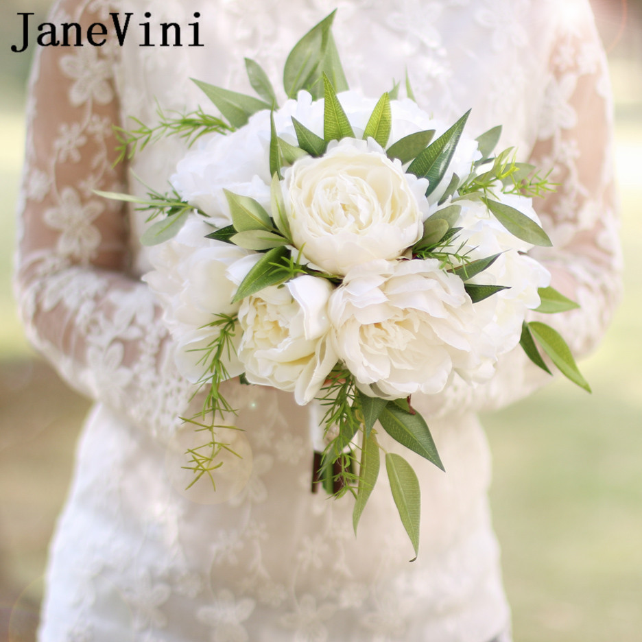 Janevini White Ivory Bride Peony Flower Bouquet Artificial Flowers
