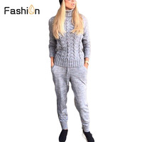 Women's Winter Sets Woolen and Cashmere Knitted Suit Ladies Turtleneck Sweater + pants Trousers Leisure knit Two Piece Set