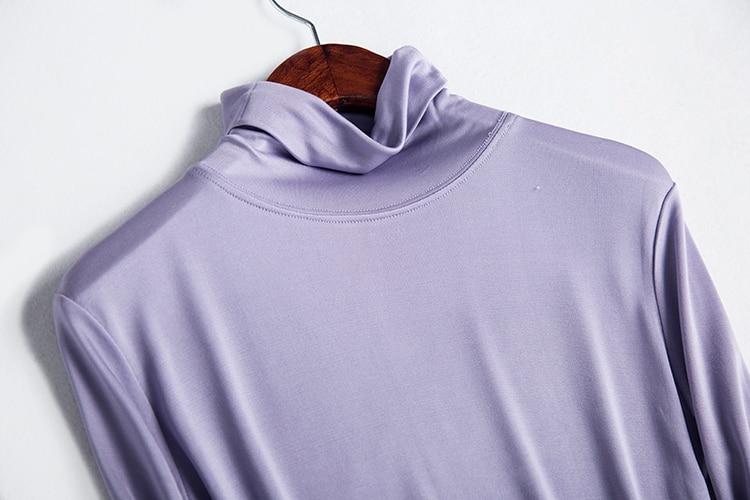 Ženska majica 100% Stvarna svila Osnovna majica s dugim rukavima - Ženska odjeća - Foto 3