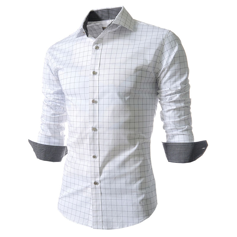 2018 Shirt Male Plaid Without Pocket Men Clothes Slim Fit Men Long Sleeve Shirt Men Casual Men Shirt Social Plus Size M-4XL