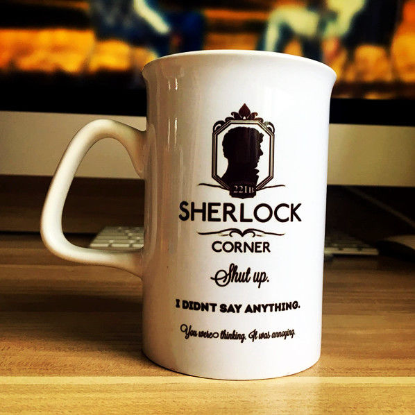 Sherlock Creative White Ceramic Mugs Collectible Letters Creative Coffee Tea Milk Cup Home Decor Christmas Gift Cups Women Mens