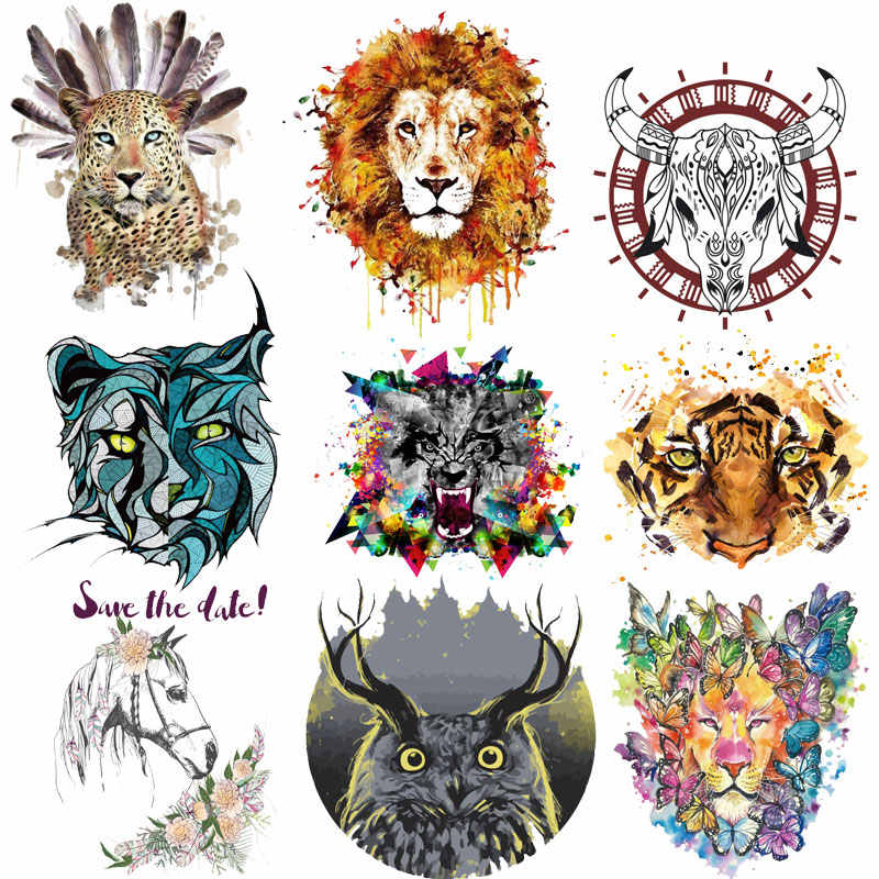 Top Animal Stickers on Clothes Iron on Patches for Clothing Tiger Lion Appliques Clothing Application DIY T-shirt Badges Print E
