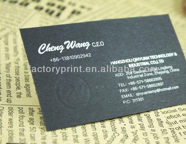 350gsm 4C Impression Papier Dart Cartes De Visite Avec Feuille Logo En Relief Dans Fournitures Scolaires Et Bureau Sur