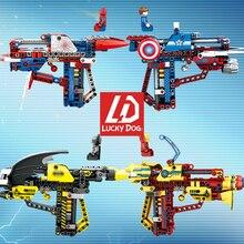 Spiderman Building Block toy Gun batman Superheros Figure brick gun legoINGly marvel toys for kids Avenger Endgame