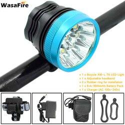 WasaFire Bright 18000 lumenów 9 * T6 LED Head przednie światło rowerowe światło rowerowe czołówka latarka Bike Light + 9600mAh akumulator