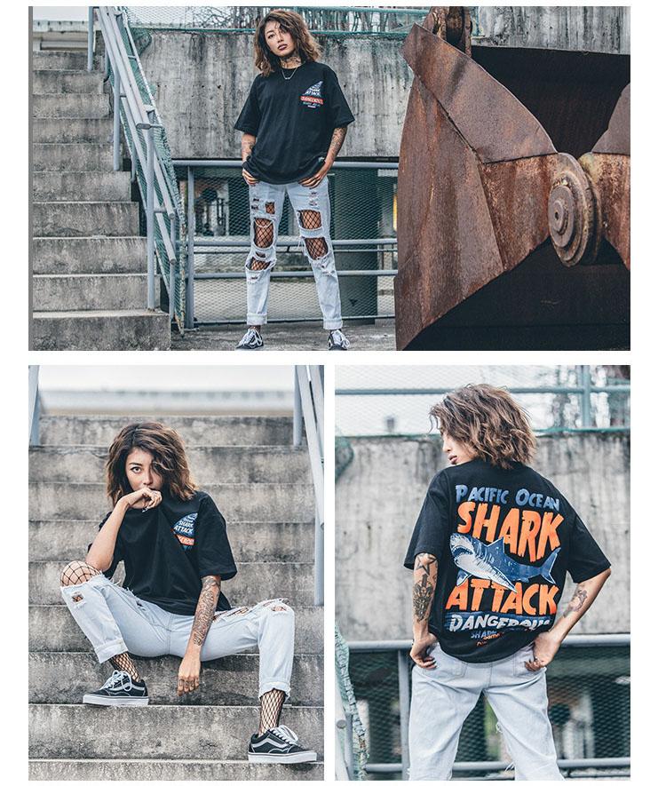 Aolamegs T-shirt Men Dangerous Big Shark Printed Short Sleeve Tee shirt Fashion Street Hip Hop Creative Tops Couples T shirts (10)