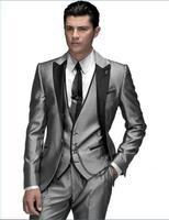 Unique Design Hot Sale Male Suits Notched Lapel Three Butten Gold Groomsman Tuxedos Men Wedding Suits
