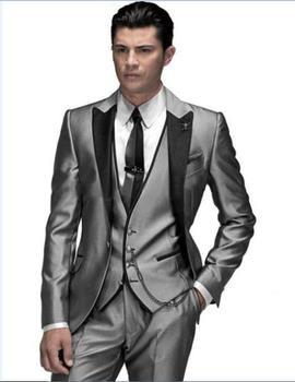 Unique Design Hot Sale Male Suits Notched Lapel Three Butten Gold Groomsman Tuxedos Men Wedding ( jacket+Pants+vest+tie)