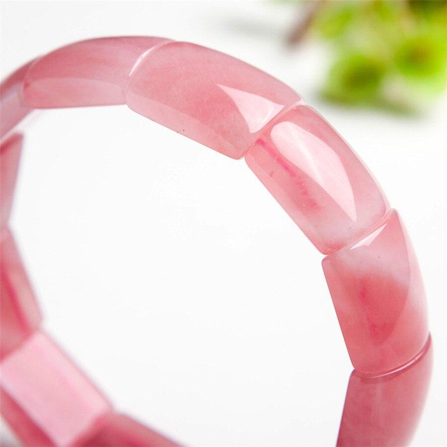 Драгоценные Природные Розовый кристалл кварца прямоугольная бусина стрейч натуральный камень Модный женский браслет браслеты - 3