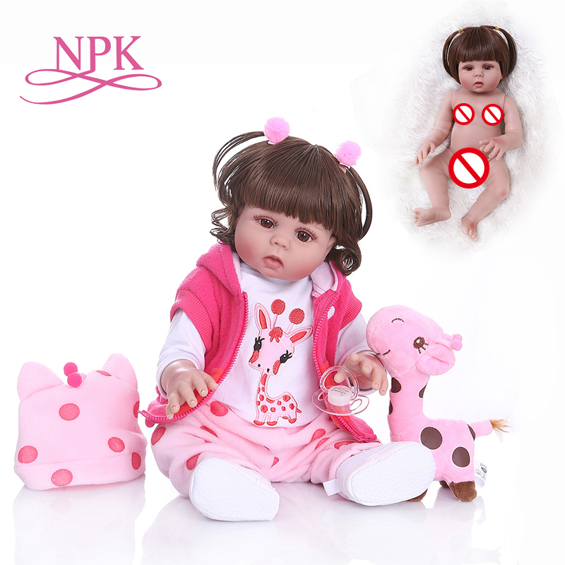 NPK48CM bebe doll reborn toddler girl doll in pink dress full body vinyl realistic baby Bath
