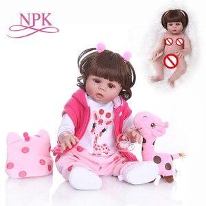 Shipping from Brazil NPK 48CM bebe doll reborn toddler girl doll full body vinyl baby Bath toy waterproof Anatomically Correct(China)