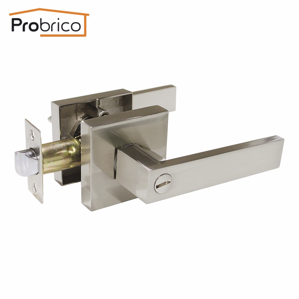 Probrico Stainless Steel Privacy Interior Door Lock Set Brushed Nickel Bathroom Door Handle