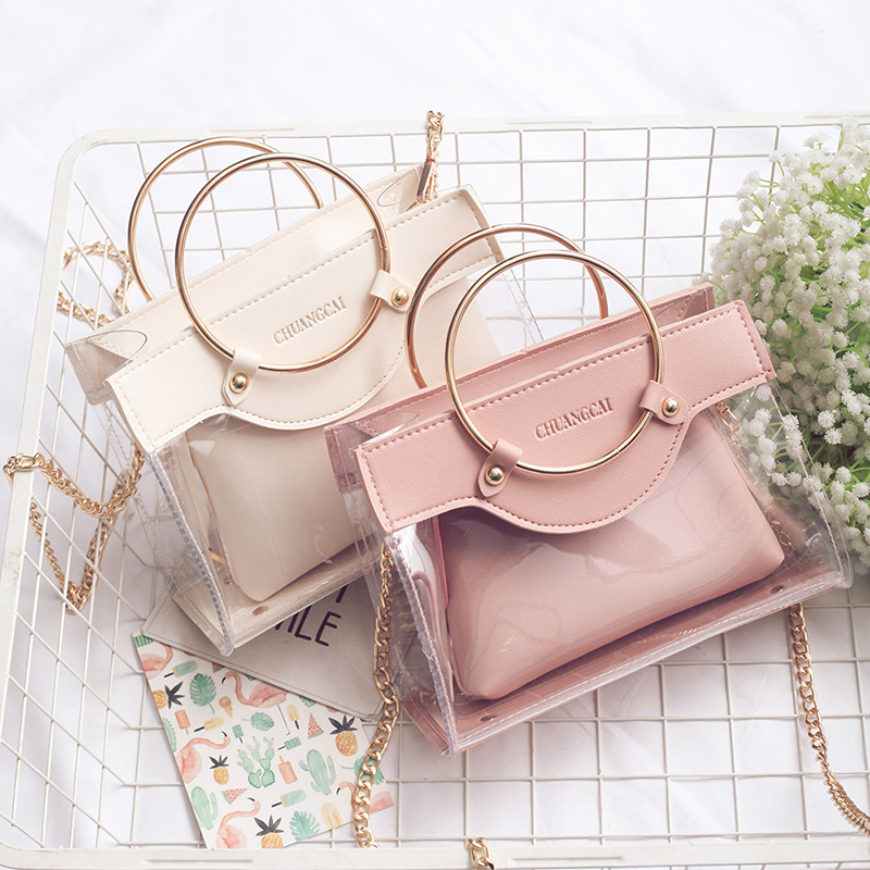 Handbag High Quality Clear Bag PVC Transparent Women Bag Metallic Ring Tote Bag Beach Travel Chain Shoulder Messenger Bag  Purse
