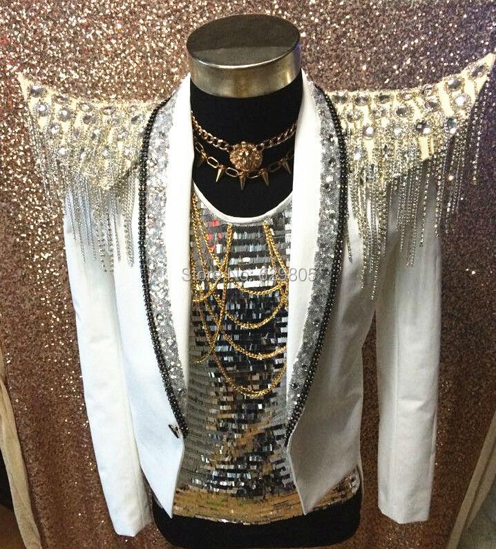 Plus Size Customized Crystals Epaulet Chains Tassel font b Jacket b font font b Men s