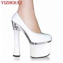 1f68107c244872 Classique/noir/blanc plate-forme femmes 18 CM Super épais talon haut Pole  chaussures de danse, chaussures de mariage/fête