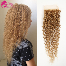 Malaysian Kinky Curly Closure Free Part Honey Blonde Closure Cheap Lace Closure With Free Shipping Human Hair Closure
