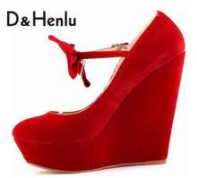 {D&H}Sweet Flock Ankle Strap Pumps Bow 14cm Women Round Toe High Heels Sexy Wedges Pumps Ladies Brand Shoes Woman Plus Size42