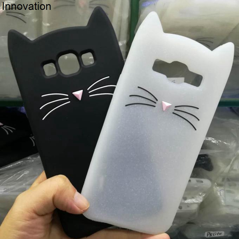Cute 3D Cartoon Beard Cat Silicone Soft Phone Case For Samsung Galaxy J1 J3 J5 J7 A3 A5 A7 2017 2016 2015 Core Grand Prime Cover in Fitted Cases from Cellphones Telecommunications