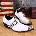 Ntparker 6.5 CM Aumento de la Altura zapatos de punta estrecha zapatos de cuero blanco de los hombres Británicos de los hombres zapatos de los hombres de la marca zapato, EU38-46