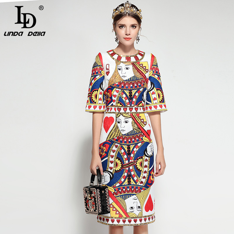 LD LINDA DELLA 2018 Runway Fashion Designer Dress Womens Half Sleeve Playing cards Print Sequin Beading Elegant Vintage Dress
